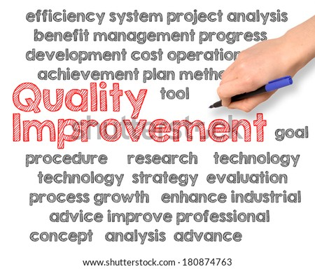 business hand writing quality improvement on white background - stock photo