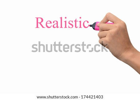 Business hand writing Realistic concept  - stock photo