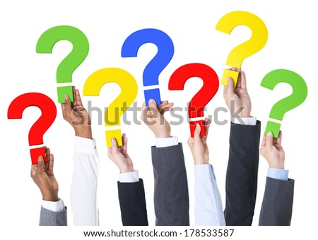 Business Hands Holding Question Marks - stock photo