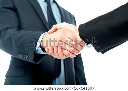 Business handshake after striking deal - stock photo
