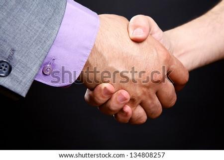 Business handshake: businessman hires man - stock photo