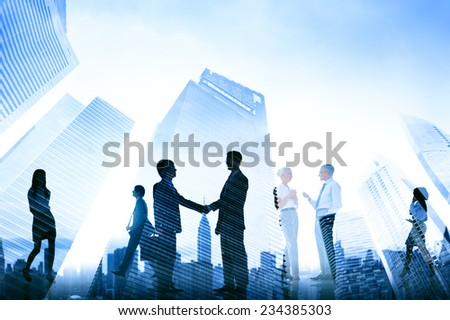 Business Handshake Corporate Meeting City Concept - stock photo
