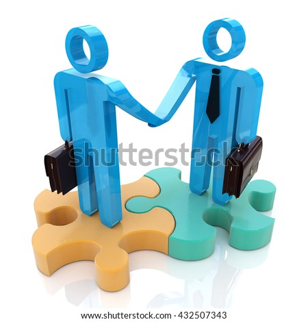 Business handshake in the design of information related to a business meeting. 3d illustration - stock photo