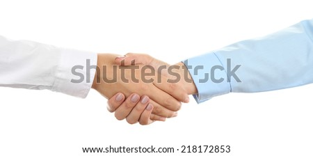 Business handshake  isolated on white - stock photo