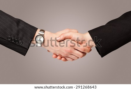 Business handshake on gradient background - stock photo