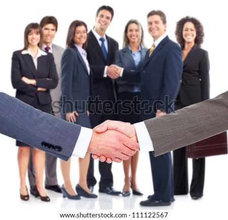Business handshake. Professional group meeting. - stock photo