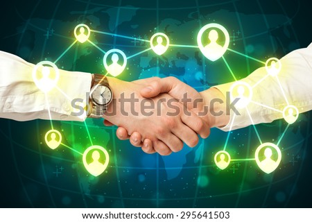 Business handshake, social netwok concept - stock photo
