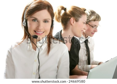 Business help desk with beautiful woman and headphones micro - stock photo