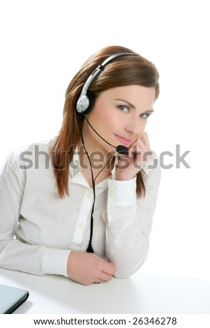 Business helpdesk with beautiful woman and headphones micro - stock photo