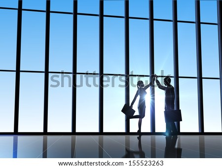 Business high five hands silhouettes rendered with computer graphic 3d. - stock photo