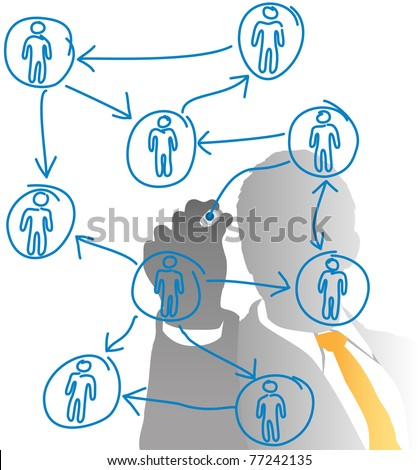Business human resources manager drawing a people diagram from behind frosted glass - stock photo