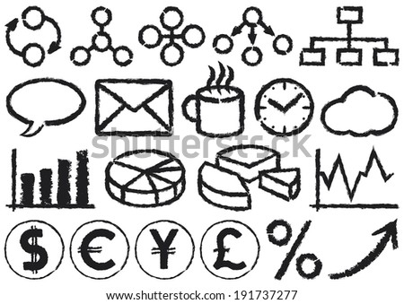 Business Icons. A set of 20 business symbols drawn by hand. - stock photo