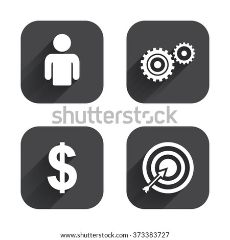 Business icons. Human silhouette and aim targer with arrow signs. Dollar currency and gear symbols. Square flat buttons with long shadow. - stock photo