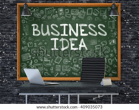 Business Idea Concept Handwritten on Green Chalkboard with Doodle Icons. Office Interior with Modern Workplace. Dark Brick Wall Background. 3D. - stock photo