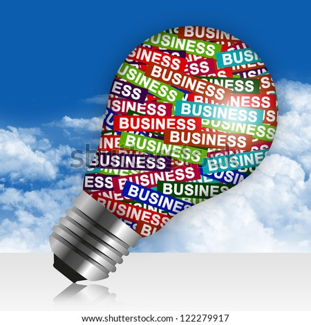 Business Idea Concept Present By Colorful Business Label in Light Bulb in Blue Sky Background - stock photo