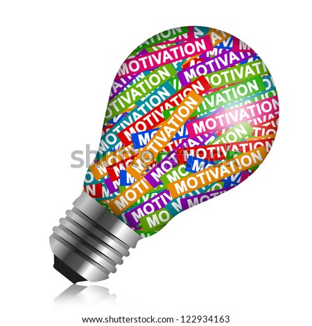 Business Idea Concept Present By Colorful Motivation Label in Light Bulb Isolated On White Background - stock photo