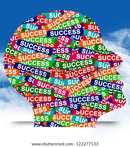 Business Idea Concept Present By Colorful Success Label in Head in Blue Sky Background - stock photo
