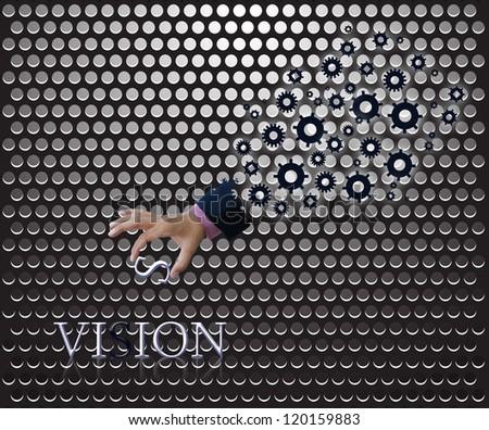 Business idea on metallic grille background. - stock photo