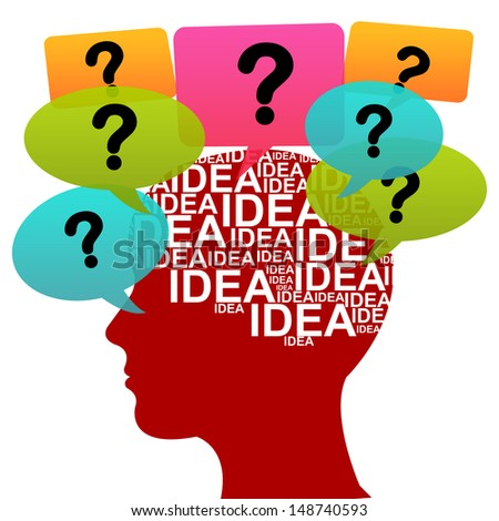Business Idea Solution Concept Present by Red Head With Idea in Brain and Colorful Question Balloon Around Isolated on White Background  - stock photo
