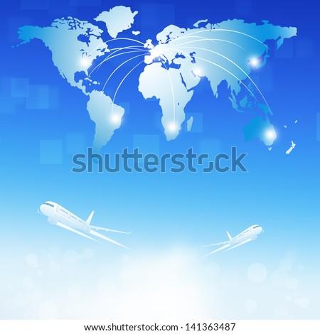 business illustration of world air travel destinations - stock photo