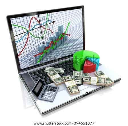 Business improvement and finance success analyzing concept. Laptop with charts, money and electronic calculator on keyboard. 3d image - stock photo