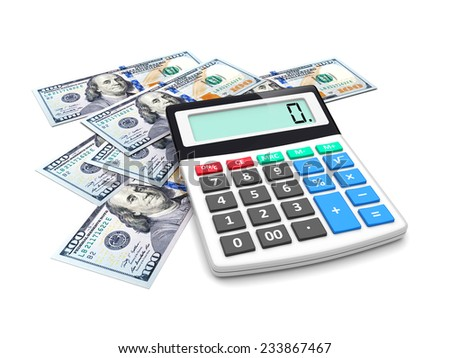 Business improvement ,finance analyzing and accounting concept. Dollar money and electronic calculator on a white. 3d image 	 - stock photo