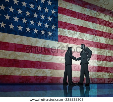 Business in America concept and deal making in the united states as two businesspeople shaking hands in agreement with a stars and stripes flag with gears and cogs texture in the background. - stock photo