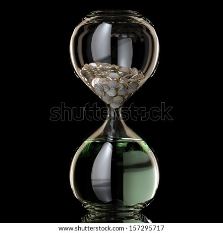 Business Inflation Conceptual illustration (Sand Clock With Coins Become Water) - stock photo