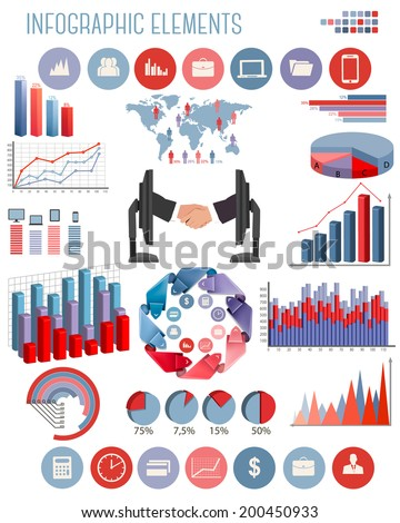 Business infographics flat template. Raster version. - stock photo