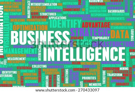 Business Intelligence Information Technology Tools as Art in Green and Red - stock photo