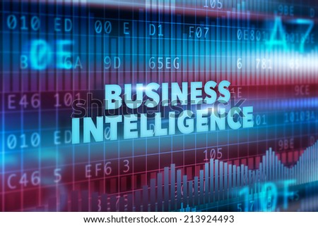 Business intelligence technology illustration concept blue text - stock photo