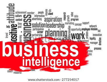 Business intelligence word cloud image with hi-res rendered artwork that could be used for any graphic design. - stock photo