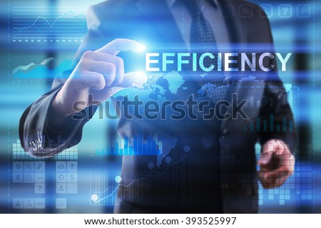 Business, Internet and technology concept.  Businessman select Efficiency. - stock photo