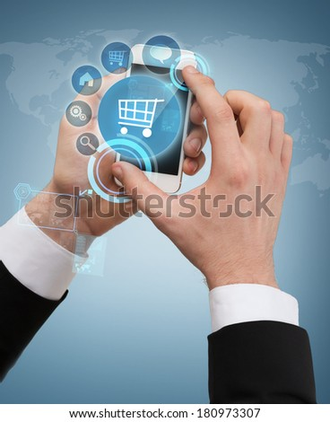 business, internet and technology concept - businessman touching screen of smartphone with menu interface - stock photo