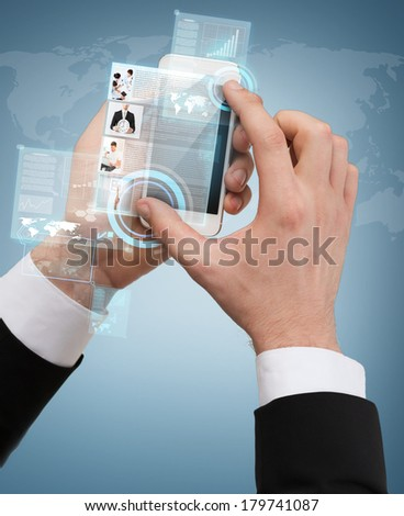 business, internet and technology concept - businessman touching screen of smartphone with news on it - stock photo