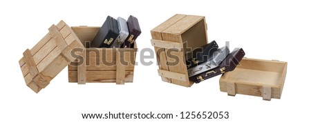 Business jobs shown by briefcases in a wooden crate for shipment - path included - stock photo