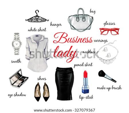 Business lady elegant set watercolor isolated on white background - stock photo
