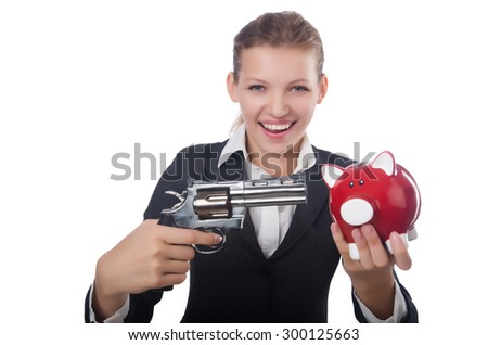 Business lady holding moneybox and gun isolated on white - stock photo