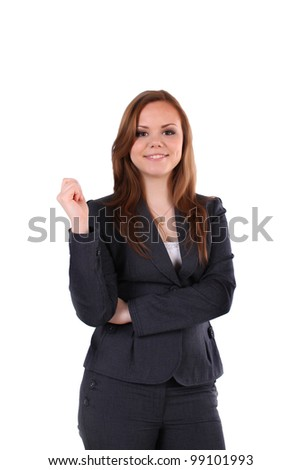 business lady holds empty  business card. - stock photo