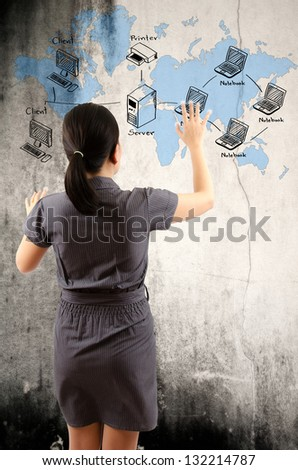 Business lady pushing LAN Network diagram on the wall. - stock photo