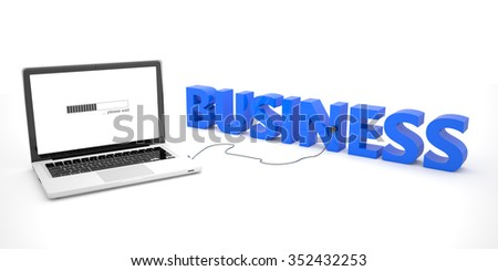 Business - laptop notebook computer connected to a word on white background. 3d render illustration. - stock photo