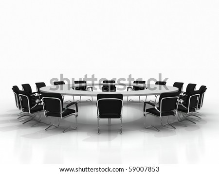 Business large meeting. Conference table and chairs isolated on white background - stock photo