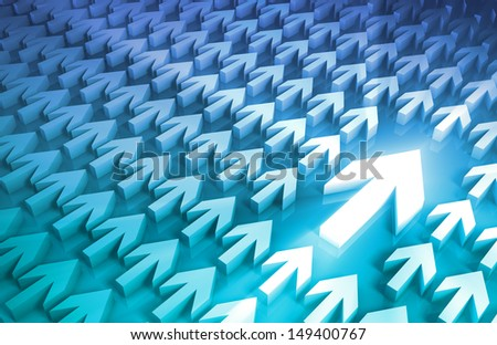 Business Leader and Decision Making Process with Arrows - stock photo