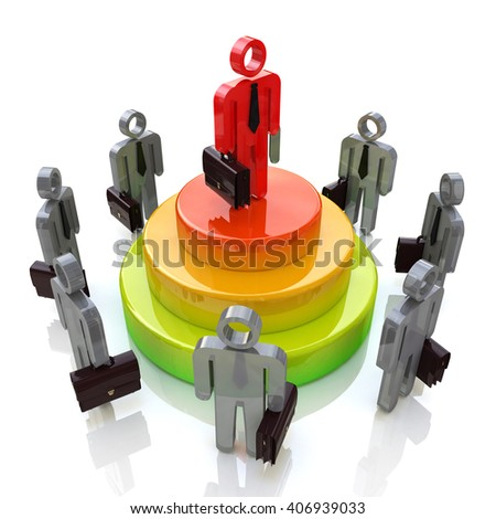 Business leader. Competition.3D Illustration - stock photo
