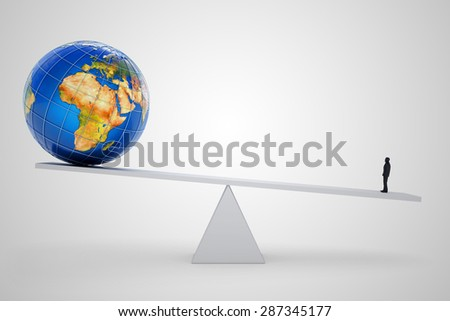Business leader concept, businessman person balancing on the scales with the planet Earth globe on white background (Elements of this image furnished by NASA) - stock photo
