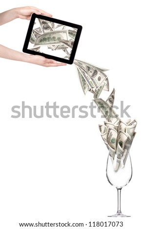 business leader concept with tablet PC screen  isolated on a white background - stock photo