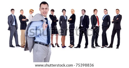 Business leader holding his jacket, business team behind, isolated - stock photo