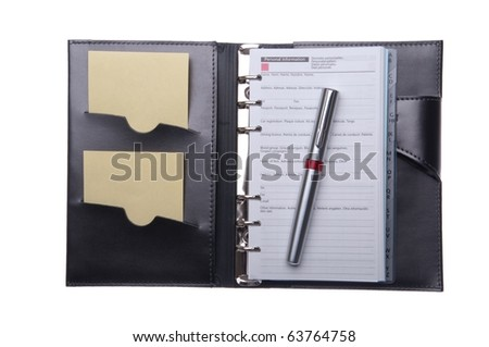 business leather agenda with sticky notes and pen (isolated on white background) - stock photo