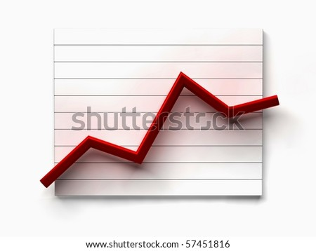 business line graph on white background - stock photo