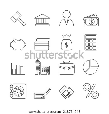 Business Line Icons Set - stock photo